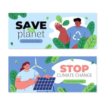 Conjunto de banners horizontais de mudança climática desenhados à mão