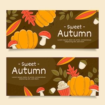 Conjunto de banners horizontais de outono desenhados à mão