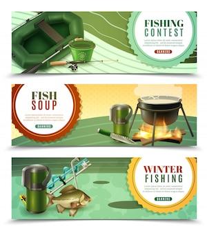Conjunto de banners horizontais de pesca esportiva