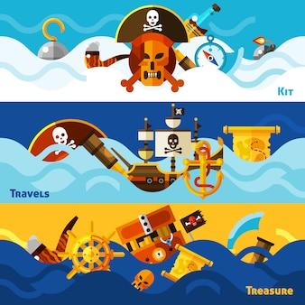 Conjunto de banners horizontais de piratas