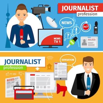 Conjunto de banners horizontais de profissão de jornalista e notícias