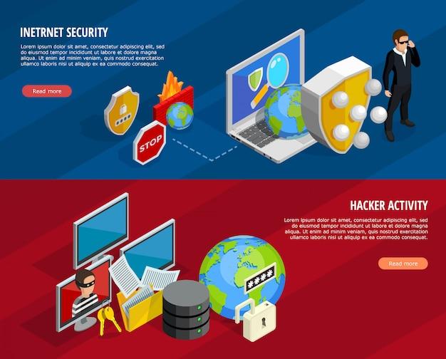 Conjunto de banners horizontais de proteção de dados