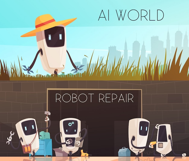 Conjunto de banners horizontais de reparo de robôs