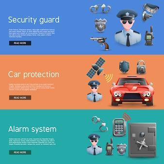 Conjunto de banners horizontais de segurança