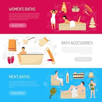 Conjunto de banners horizontais de spa de sauna de banho