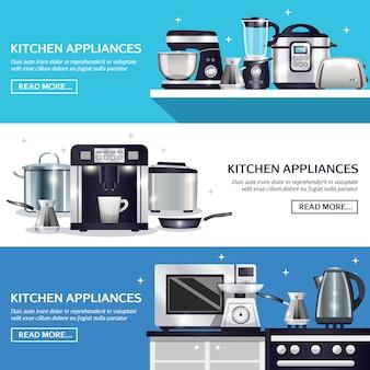 Conjunto de banners horizontais de utensílios de cozinha