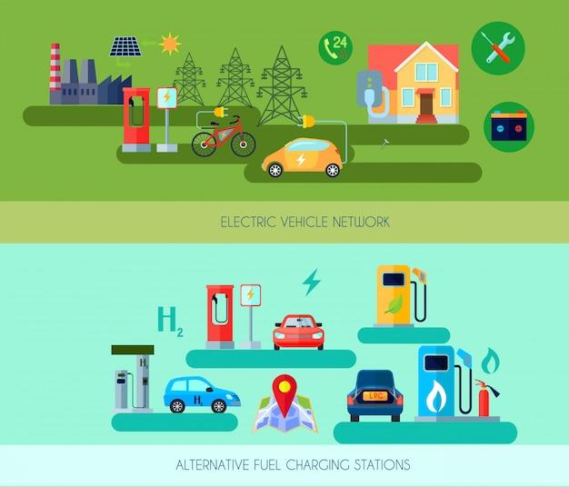 Conjunto de banners horizontais de veículos de energia alternativa