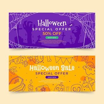Conjunto de banners horizontais de venda de halloween desenhado à mão