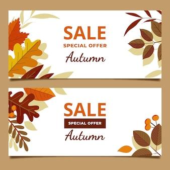 Conjunto de banners horizontais de venda plana no outono