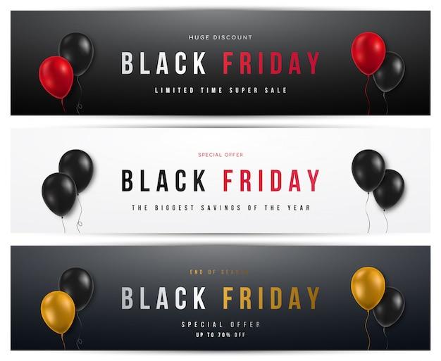 Conjunto de banners horizontais de venda sexta-feira negra.