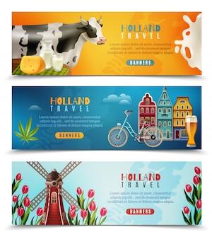 Conjunto de banners horizontais de viagem de holanda