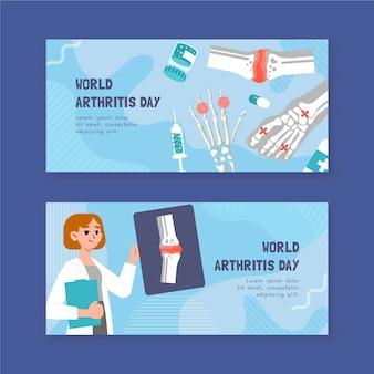 Conjunto de banners horizontais desenhados à mão para o dia da artrite no mundo plano