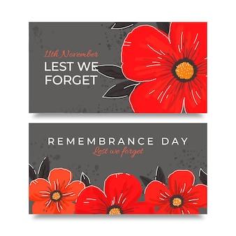Conjunto de banners horizontais desenhados à mão para o dia da lembrança