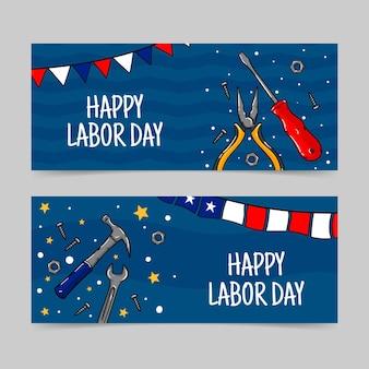 Conjunto de banners horizontais desenhados à mão para o dia do trabalho