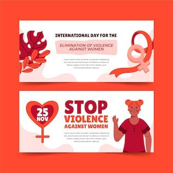 Conjunto de banners horizontais desenhados à mão para o dia internacional pela eliminação da violência contra as mulheres