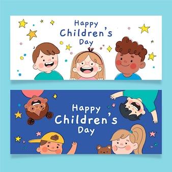 Conjunto de banners horizontais desenhados à mão para o dia mundial das crianças