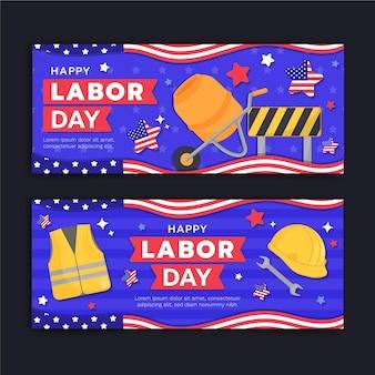 Conjunto de banners horizontais do dia do trabalho