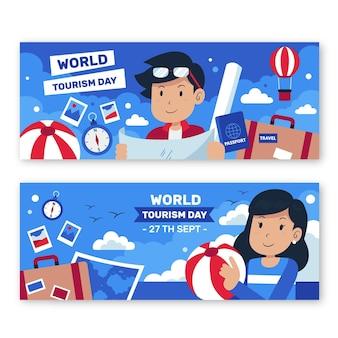 Conjunto de banners horizontais do dia do turismo no mundo plano