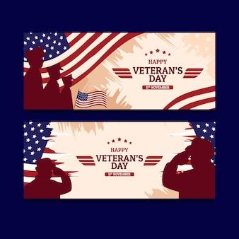Conjunto de banners horizontais do dia do veterano desenhado à mão