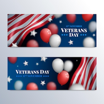 Conjunto de banners horizontais do dia do veterano realista