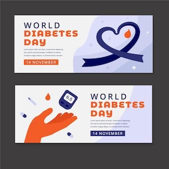 Conjunto de banners horizontais do dia mundial da diabetes plano