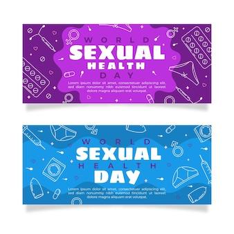 Conjunto de banners horizontais do dia mundial da saúde sexual