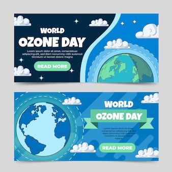 Conjunto de banners horizontais do dia mundial do ozônio desenhados à mão