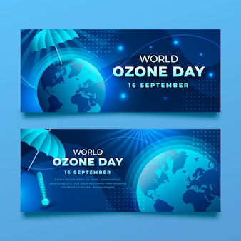 Conjunto de banners horizontais do dia mundial do ozônio gradiente