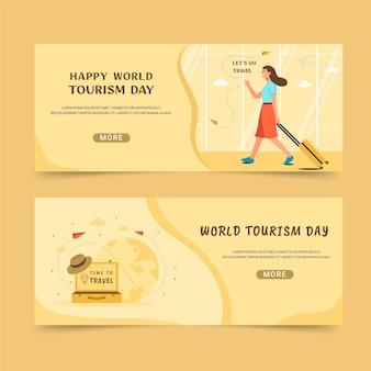 Conjunto de banners horizontais do dia mundial do turismo
