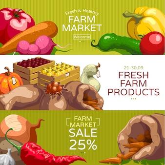 Conjunto de banners horizontais do mercado de agricultores