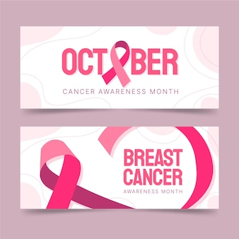 Conjunto de banners horizontais do mês de conscientização do câncer de mama desenhada à mão