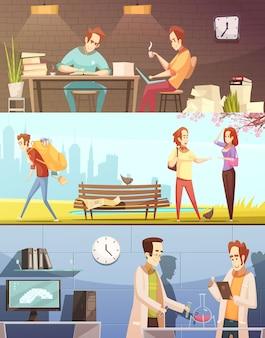 Conjunto de banners horizontais dos desenhos animados retrô com os alunos