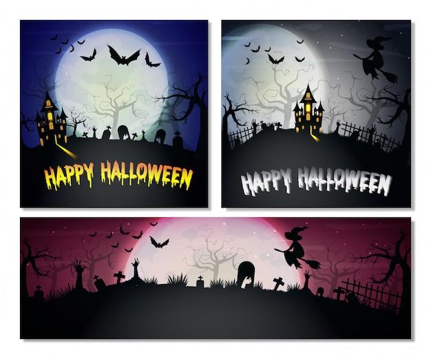 Conjunto de banners horizontais e quadrados de halloween.