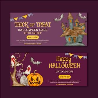 Conjunto de banners horizontais em aquarela de halloween