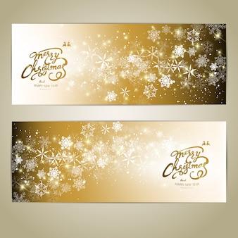 Conjunto de banners horizontais feliz natal