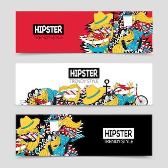 Conjunto de banners horizontais interativos de hipster 3