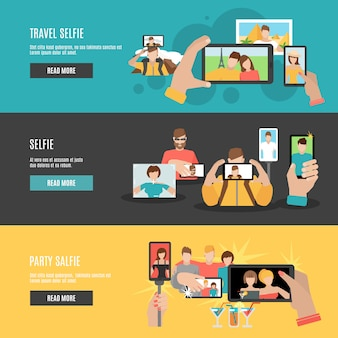 Conjunto de banners horizontais interativos plana selfie