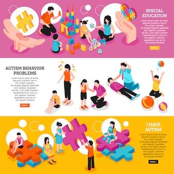 Conjunto de banners horizontais isométricos conscientização do autismo problemas de educação e comportamento especiais