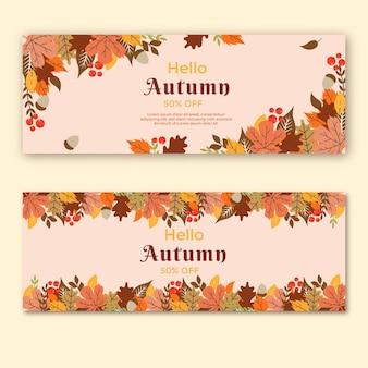 Conjunto de banners horizontais no meio do outono