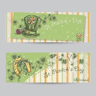 Conjunto de banners horizontais para o dia de st patricks com folhas de trevo, ferradura e boné.