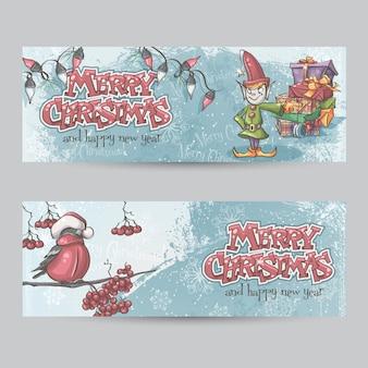 Conjunto de banners horizontais para o natal e o ano novo