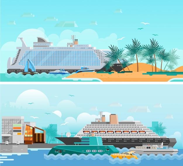 Conjunto de banners horizontais plana de férias de cruzeiro