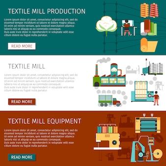 Conjunto de banners horizontais plana de moinho têxtil