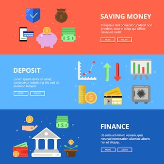 Conjunto de banners horizontais. poupe seu dinheiro. fotos de conceito com diferentes símbolos de negócios e dinheiro. depósito financeiro, ilustração de investimento financeiro