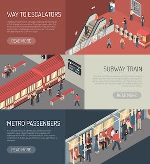 Conjunto de banners horizontal isométrica de metrô Vetor grátis