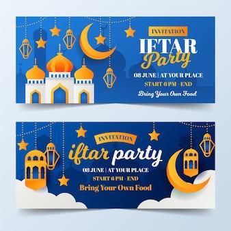 Conjunto de banners iftar planos