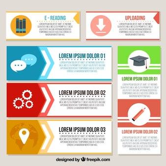 Conjunto de banners infográficos com itens decorativos