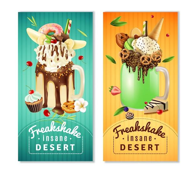 Conjunto de banners insane sobremesa extrema freakshake