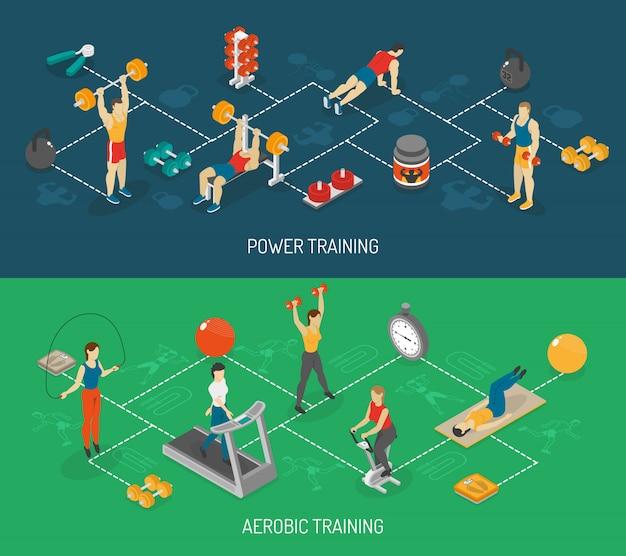 Conjunto de banners isométrica cardio e treinamento de força
