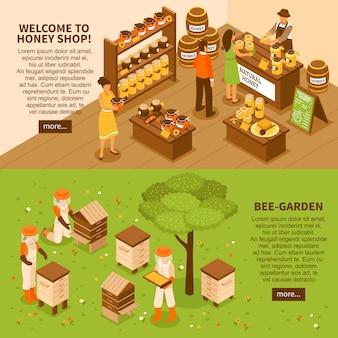 Conjunto de banners isométrica de jarda de mel
